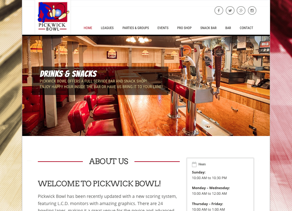WEBSITE LAUNCH: Pickwick Bowl & Ice