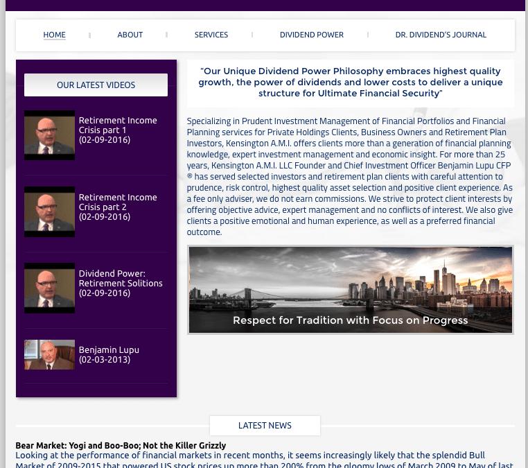 WEBSITE LAUNCH: Kensington, AMI Investment Advisor