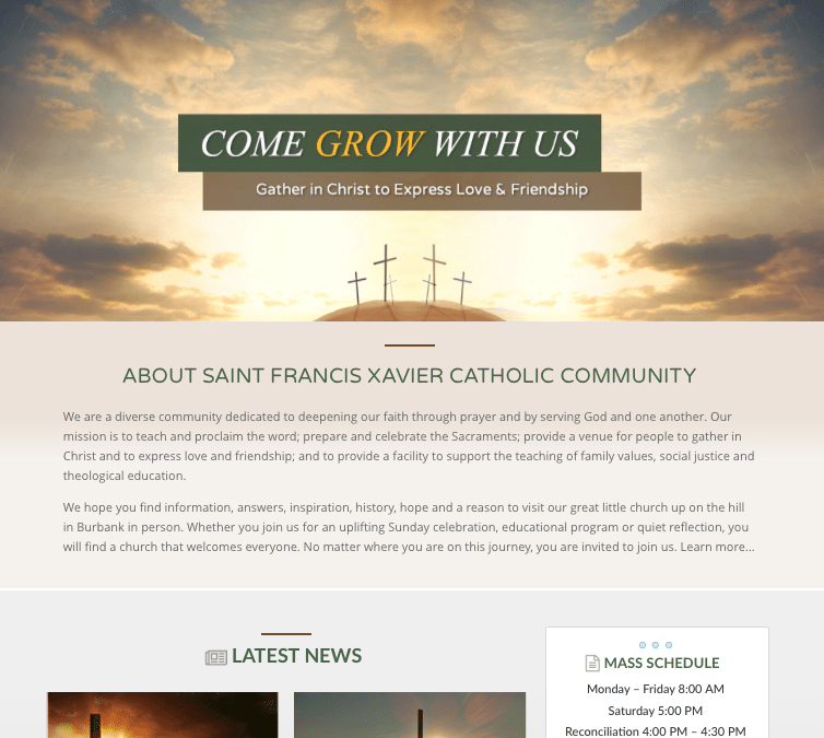 WEBSITE LAUNCH: Saint Francis Xavier Church