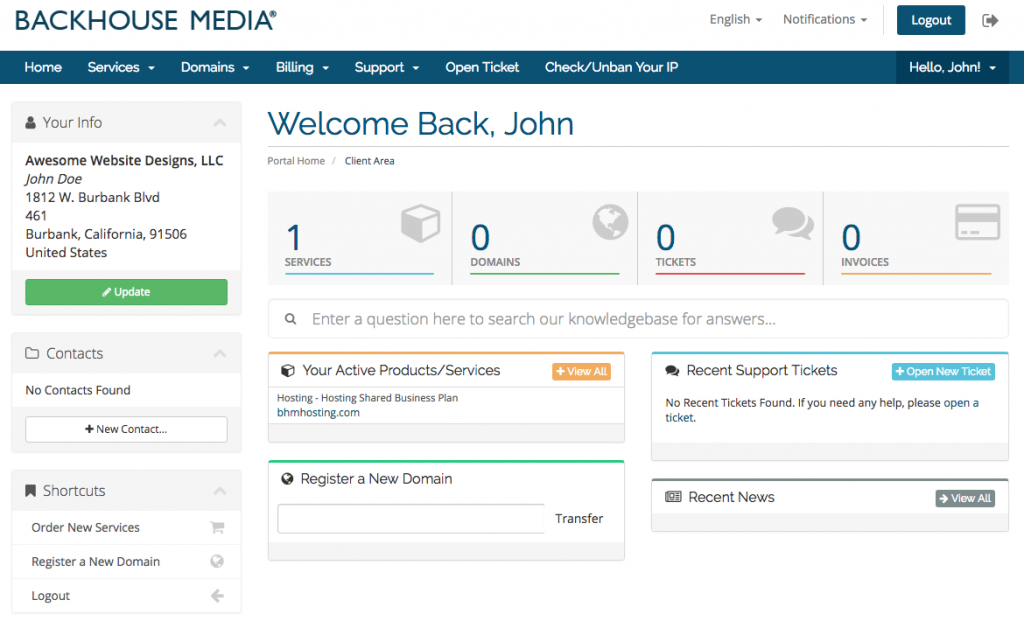 Backhouse Media Billing Dashboard